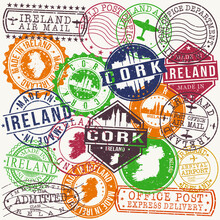 Cork Ireland Set Of Stamps. Travel Stamp. Made In Product. Design Seals Old Style Insignia.