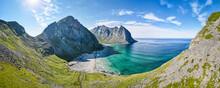 Beautiful Kvalvika Beach View At Lofoten, Norway