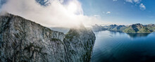 Beautiful Landscape Scenery Of Segla Mountain By Sea At Norway
