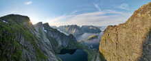 Beautiful Valley Against Sky At Reine, Lofoten, Norway