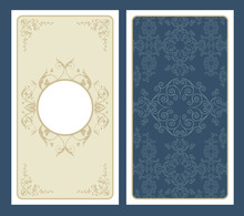 Tarot Card Front And Back Background In Vintage Gothic Style Vector With Ornamental Elements