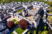 Germany, Weilburg, Weilburg Castle With Baroque Palace Complex, Old Town Hall And Castle Church With Tower, Aerial View