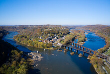 USA, West Virginia,ÔøΩHarpersÔøΩFerry, Aerial View Of Town At Confluence Of Potomac And Shenandoah Rivers