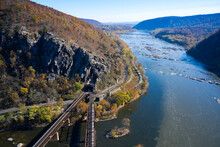 USA, West Virginia, Harpers Ferry, Aerial View Of Elevated Railroad Tracks Meeting At Tunnel OverÔøΩChesapeake And Ohio Canal