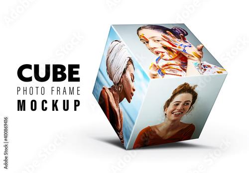 Obraz Cube Photo Frame Mockup - fototapety do salonu