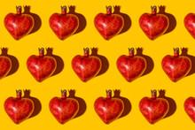 Pattern Of Heart Shaped Pomegranates