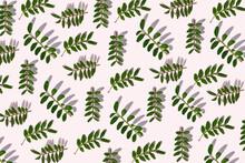 Green Leaves On White Background, Illustration