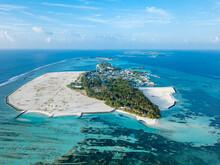 Maldives, Kaafu Atoll, Aerial View Of Huraa Island