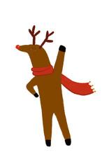 Clip Art Of Anthropomorphic Reindeer Wearing Scarf