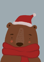 Clip Art Of Brown Bear Wearing Scarf And Santa Hat