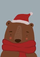 Clip Art Of Brown Bear Wearing Scarf And Santa Hat