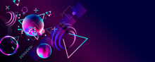 Synthwave Vaporwave Retrowave Glitch Circle With Blue And Pink Futuristic Cyberpunk Style Neon Abstraction Background Galaxy And Planets Blue Circles