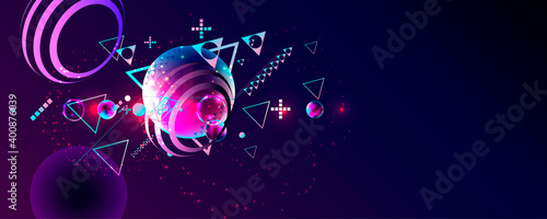 Obraz na plátně Synthwave vaporwave retrowave glitch circle with blue and pink futuristic cyberp