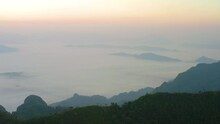 Aerial View Of Doi Pha Mon Misty Mountain Landscape View In Morning In Chiang Rai Province, Thailand