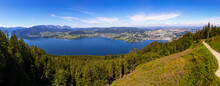 Panoramic View Of Traunsee Lake, Gmunden, Grunberg, Altmunster, Salzkammergut, Upper Austria, Austria