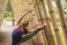 Flexible Young Woman Stretching While Leaning On Bamboo At Park