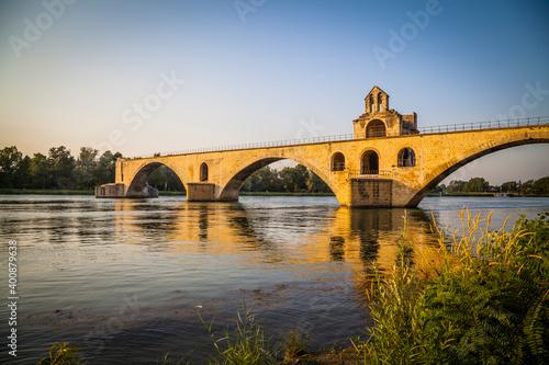 Canvas Pont Saint-Bénézet, the famous bridge over the river Rhone in Avignon, Provence,