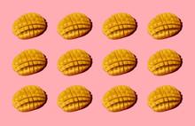 Chopped Mango Pattern On Pink Background