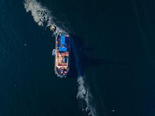 Aerial View Of Ship At Barents Sea