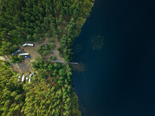 Russia, Petrozavodsk Oblast, Karelia, Car Parking Near Forest Lake, Aerial View