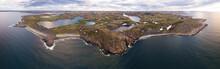 Russia, Murmansk Oblast, Teriberka, Aerial View Of Rocky Coastal Landscape Of Barents Sea