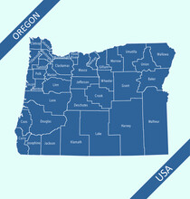 Oregon Counties Map Outlines Vector