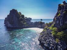 Thailand, MuKoLantaNational Park, Rocky Coastline And Beach, Aerial View