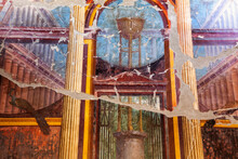 Old Mural On Ruins Of Herculaneum