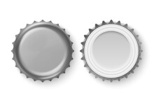 Vector 3d Realistic Metal Silver Gray Blank Beer Bottle Cap Icon Set Closeup Isolated On White Background. Design Template For Mock Up, Package, Advertising. Top And Bottom View