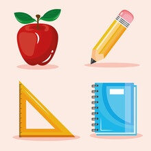 Bundle Of Four Back To School Set Collection Icons Vector Illustration Design
