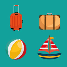 Bundle Of Four Vacations Travel Set Icons Vector Illustration Design