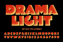An Art Deco Style Font With Stipple Effects And A Dramatic Stage Uplight Effect.