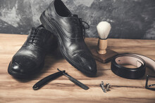 Shaving Accessories With Man Shoes