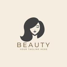 Woman Beauty Face With Long Hair In Black White Vintage Silhouette Style Logo Illustration