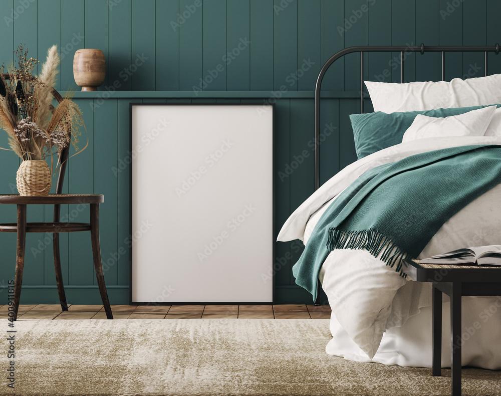 Fototapeta Mockup frame in cozy dark blue bedroom interior background, farmhouse style, 3d render