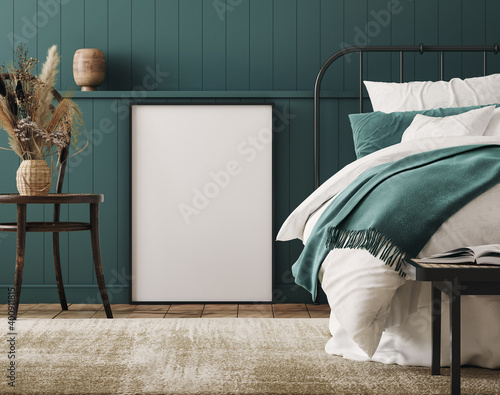Fototapeta Mockup frame in cozy dark blue bedroom interior background, farmhouse style, 3d render obraz