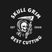 Skull Of Grim Reaper With The Sickle Logo. Vector Illustration