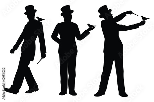 Set of magicians silhouette vector on white Fototapete