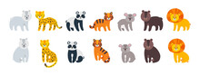 Wild Amimals Set. Leopard, Lion, Tiger, Bear, Panda And Koala Isolated In White Background. Vector Illustration In Flat Style