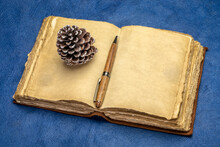 Blank Antique Leather-bound Journal With Decked Edge Handmade Paper Pages With A Stylish Pen And A Decorative Pine Cone Against Blue Handmade Paper, Journaling Or Holiday Greetings Concept