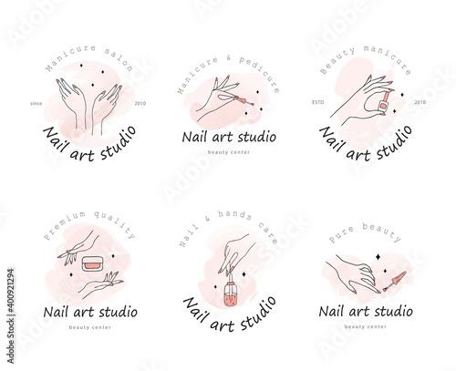 Canvas Print Vector logotype design for nail art studio
