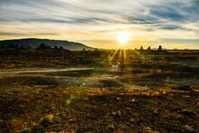 Beautiful Desert Sunrise Above Rock Spires