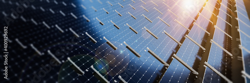 Fotografering Close-up of Solar cell farm power plant eco technology
