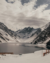 Snow Mountains And River In Portillo And Valle Nevado, Chile.