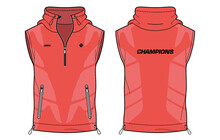 Sleeveless Hoodie Tank Top Jacket, Sweatshirt Vest Design T-shirt Template, Sports Jersey Concept With Front And Back View For Men And Women. Basketball, Football, Rugby, Training Wear.