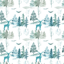 Scandinavian Winter Mysterious Forest Seamless Pattern On White Background Watercolor Illustration Of Woodland Animals, Pine Trees, Hills, Birds