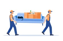 Moving Service And Delivery Company. Delivery Character Man Movers Carry Sofa With Big Carton Cardboard Box. Delivery And Relocation Service Concept. Vector Illustration In Flat Style