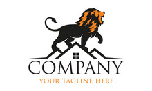 Black And Orange Color Powerful Lion On Roof House Logo Design