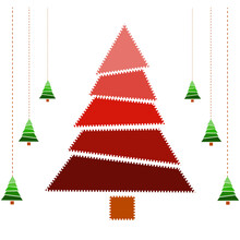 Christmas Tree Icon Isolated On White Background With Garlands Of Green Christmas Trees. Christmas Tree For Cards For Christmas And New Year. Illustration.