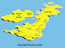 England Political Isometric Map Divide By State Colorful Outline Simplicity Style. Vector Illustration.